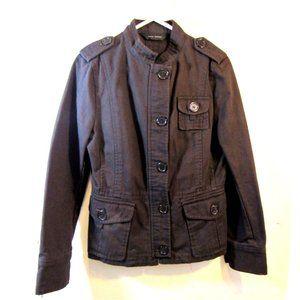 Distressed Denim Jean Military Utility Jacket L